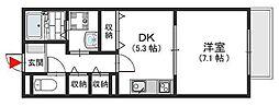 ラヴィ・クレール 友井3 弥刀2[2階]の間取り