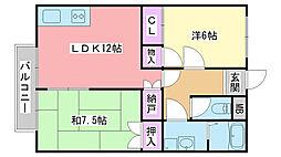 福岡県福岡市西区泉3丁目の賃貸アパートの間取り