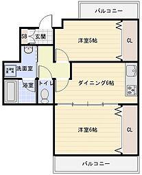 大阪府八尾市本町7丁目の賃貸マンションの間取り