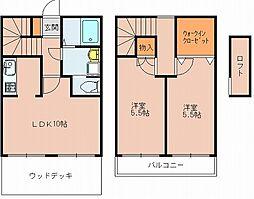 福岡県福岡市博多区西月隈5丁目の賃貸アパートの間取り