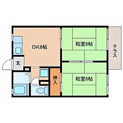 静岡県静岡市清水区御門台の賃貸アパートの間取り