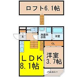ハーモニーテラス中江(ハーモニーテラスナカエ)[1階]の間取り