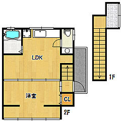 兵庫県神戸市兵庫区湊川町9丁目の賃貸アパートの間取り
