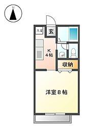 愛知県長久手市五合池の賃貸アパートの間取り