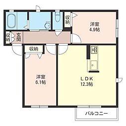 サングリーン清住 C[1階]の間取り