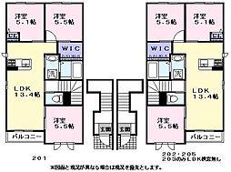 シャーメゾン橋本 2階3LDKの間取り