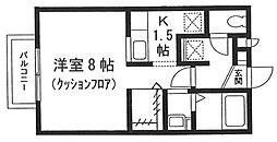 神奈川県横浜市鶴見区岸谷1丁目の賃貸アパートの間取り