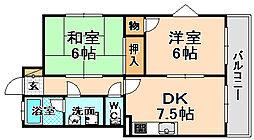兵庫県尼崎市西昆陽1丁目の賃貸アパートの間取り