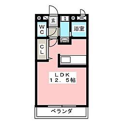ユニバーサル 3階ワンルームの間取り