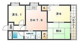 崗本マンション[4階]の間取り