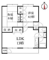多摩川住宅ホ−10[402号室]の間取り