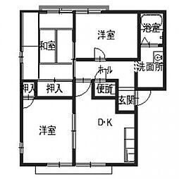 サンプライム阪南B[1階]の間取り