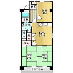 愛知県名古屋市中川区牛立町2丁目の賃貸マンションの間取り