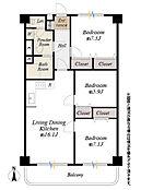 間取図/4階部分南向 専有面積76.16m2 バルコニー面積10.35m2