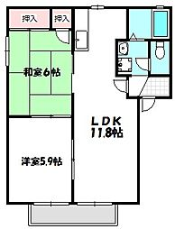 大阪府門真市北巣本町の賃貸アパートの間取り