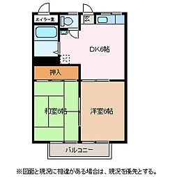 八反田ハイツA[1階]の間取り