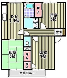 サンハイツ田嶋[1階]の間取り
