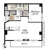 間取り図/南向きワイドスパンバルコニーに面した約15.4帖のリビングルームとウォークインクローゼットのある約5.4帖のベッドルーム