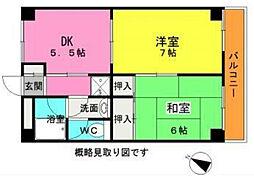 神奈川県横浜市中区柏葉の賃貸マンションの間取り