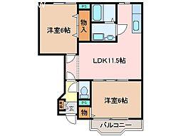 三重県松阪市中道町の賃貸アパートの間取り