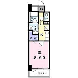 クラール上福岡 2階1Kの間取り