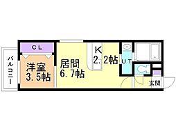 フォレスタ円山 3階1LDKの間取り