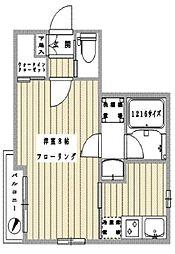 グランツハウス日本橋 6階1Kの間取り