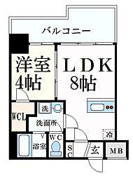 ブエナビスタ神戸イースト 6階1LDKの間取り