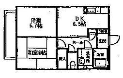 神奈川県横浜市中区本牧緑ケ丘の賃貸アパートの間取り
