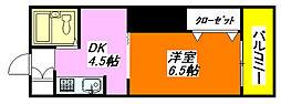 栗山マンション 603号室[6階]の間取り