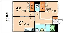 福岡県飯塚市大門の賃貸アパートの間取り