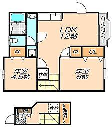 兵庫県神戸市北区有野町唐櫃の賃貸アパートの間取り