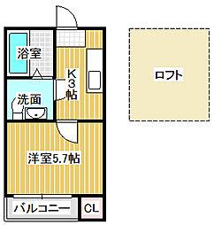 愛知県名古屋市中川区明徳町3丁目の賃貸アパートの間取り