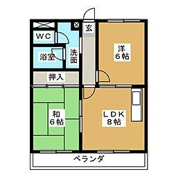 レインボーパレス二番館[2階]の間取り