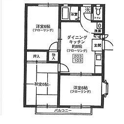 東京都目黒区緑が丘2丁目の賃貸アパートの間取り