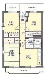 コルティーレ桜堤[2階]の間取り