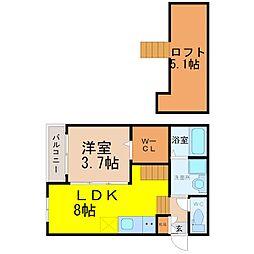 南区桜本町2丁目デザイナーズ[2階]の間取り