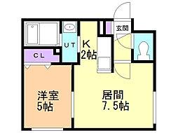 grandir(グレンディール) 4階1DKの間取り