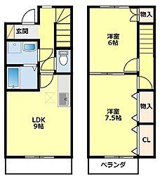 [タウンハウス] 愛知県豊田市河合町3丁目 の賃貸【/】の間取り