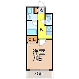愛知県名古屋市昭和区車田町2丁目の賃貸マンションの間取り