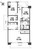 京王相模原線「京王多摩センター」駅から徒歩約8分。約101平米、3LDKWIC。