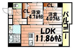 U-Basic Leef三萩野[703号室]の間取り