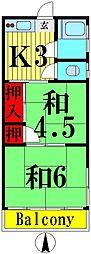 東京都足立区西伊興2丁目の賃貸アパートの間取り