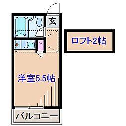 神奈川県横浜市港北区仲手原1丁目の賃貸アパートの間取り