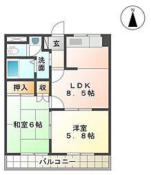 福岡県中間市岩瀬4丁目の賃貸アパートの間取り