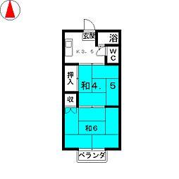 リヴェルM A棟[2階]の間取り