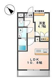 東京都八王子市みなみ野2丁目の賃貸アパートの間取り