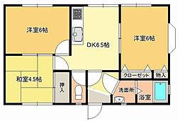 神奈川県横須賀市公郷町5丁目の賃貸アパートの間取り