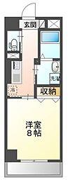 岡山電気軌道清輝橋線 大雲寺前駅 徒歩6分の賃貸マンション 4階1Kの間取り