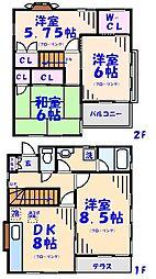 [一戸建] 千葉県市川市八幡6丁目 の賃貸【/】の間取り